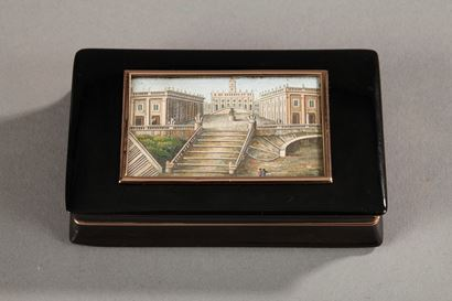 TORTOISESHELL SNUFF BOX WITH MICROMOSAIC AND GOLD.<br/>