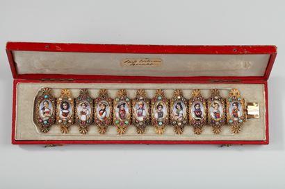 BRACELET IN GOLD, ENAMEL, AND GEMSTONES.<br/> MID-19TH CENTURY.