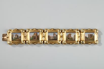 GOLD AND MICROMOSAIC BRACELET.<br>FIRST HALF OF THE 19TH CENTURY WORK.