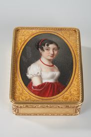GOLD SNUFFBOX WITH PORTRAIT signed Boichard.<br/>CIRCA 1809-1819.