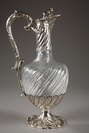 19TH CENTURY CUT CRYSTAL EWER WITH SILVER MOUNTS.