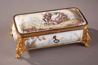 19TH CENTURY FRENCH LIMOGES ENAMEL BOX.
