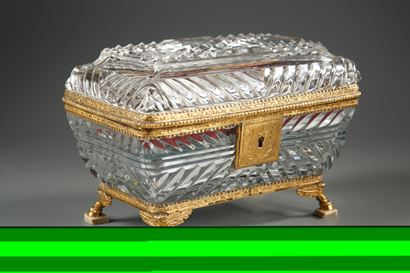 19th Century French crystal and mother-of-pearl toiletry box.