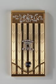 Gold Case with Diamonds and Sapphire. <br/>