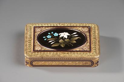 Gold Snuff Box with Pietra Dura Medallion.