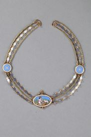 Chain Link Necklace with Gold and Enamel Plates. Early 19th Century