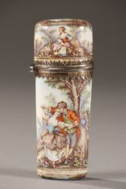 LIMOGES ENAMEL FLASK.<br/>