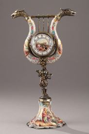 Silver and Enamel Clock – 19th Century Vienna.