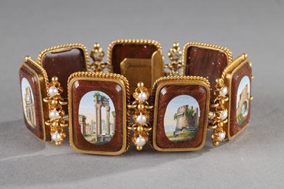 Bracelet or, micro-mosaiques et demi-perles.  Début du XIXème siècle