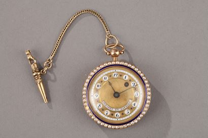 Pocket Watch in Gold with Pearls and Enamel. Albaret et Mathieu, Early 19th Century.
