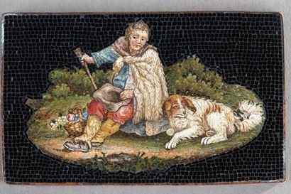 Plaque Micro-mosaique au Berger.  Début du XIXème siècle.