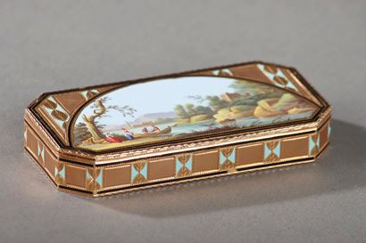 Gold and Enamel Snuff Box, Swiss, circa 1800-1810.
