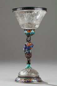 An Austrian rock crystal, silver and enamel Cup.  19th century. S.Grünwald.