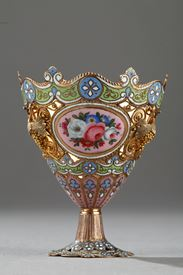 A gold and enamel Zarf. Swiss. Early 19th century.