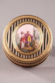 Gold, Enamel, Tortoiseshell and Lacquer Box, Louis XV Period.