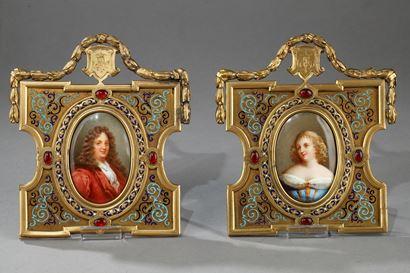 Portraits En Porcelaine, Cadre En Bronze et émail.  Alphonse Giroux. XIXème Siècle.