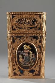 Gold, enamel and stell writing case with secret. 18th Century.