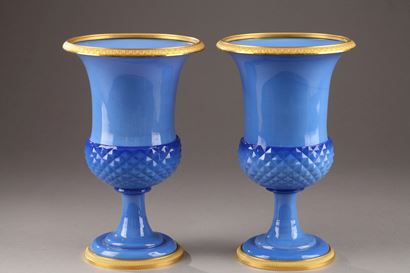 Paire of blue opaline Medici Vases. Early 19th Century.