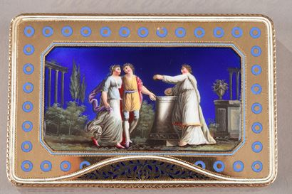 Enamelled gold Swiss box. Late 18th century.