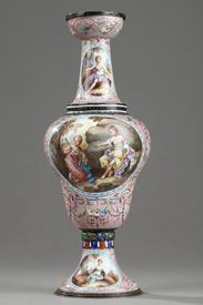Vienna enamel vase. Herman Böhm.<br>End of the 19th century.