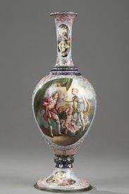 A 19th century Vienna enamel vase. Hermann Böhm.
