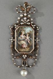 Pendentif vermeil, argent, perles et miniature sur ivoire.  Napoléon III.