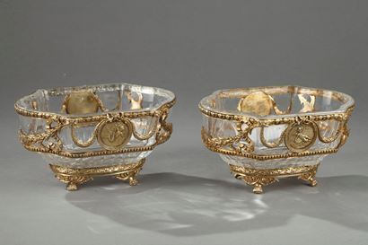 Pair Of Crystal And Vermeil Cup. J-P Legastelois.  19th Century