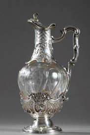 19TH CENTURY CUT-CRYSTAL AND SILVER EWER.