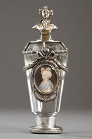 Crystal and Silver desk seal with Marie-Antoinette and Louis XVI portraits. 19th Century.
