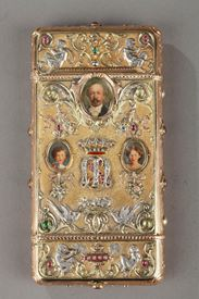 A 19th Century Gold and Silver, Diamonds and Gemstones cigarette of the Duc de Morny. Signed Wiese.