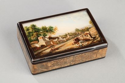 19th Tortoishell box with fixé sous verre and Eglomised glass.<br>Early 19th century.