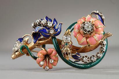 "Mid-19th Century Gold, enamel, diamond, rubis and emerald brooch ""trembleuse""."
