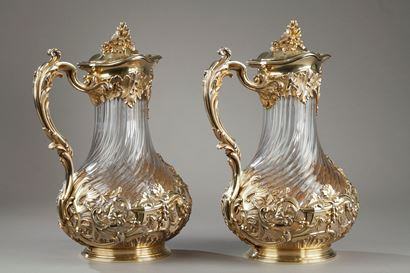 A Silver and Crystal Pair of jugs.  TETARD