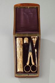 18th century GOLD SEWING BOX WITH  wax case.