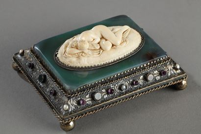 Austrian Silver and ivory paperweight. Mid-19th Century.