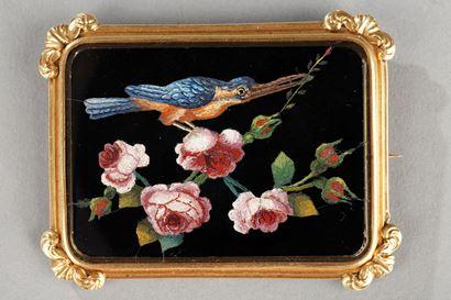 Broche or et micro-mosaique. Milieu XIXème siècle.
