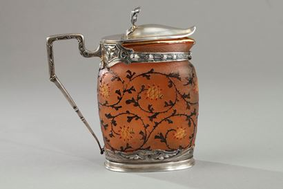 Daum silver mounted glass vase, early 20th century