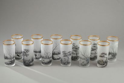 DAUM NANCY SET OF 12 GLASSES.<br>Circa 1890.