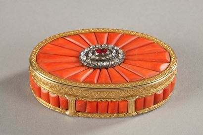 GOLD SNUFF BOX WITH CORAL, DIAMONDS, AND PRECIOUS STONE.<br/>