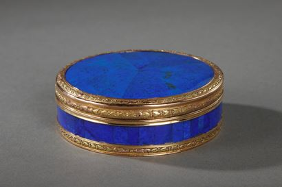 End 18th Century Gold and Panelled Lapis Lazuli Snuff-Box. Hanau.