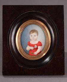 Miniature sur ivoire. Portrait d'un enfant. Début du XIXème siècle.