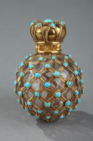 Gold, crystal and turquoise Perfume flask. Restauration Period.