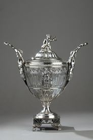 19th Century Silver and cut crystal candy dish.