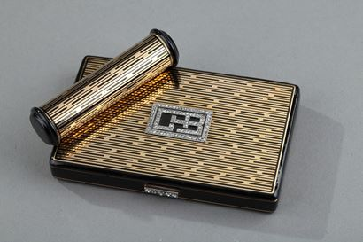 Art Deco Compact with lipstisk case.