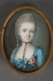 18th Century Miniature on ivory. Portrait of a Lady.