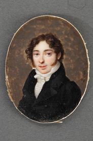Early 19th century portrait on ivory. Signed DROUIN.