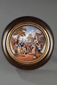 19th Century Enamelled miniature after D.Teniers.