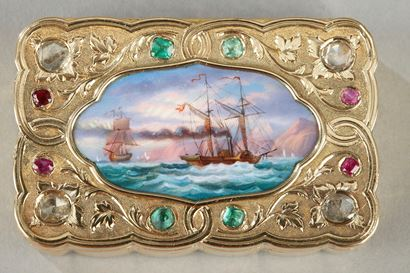 A SWISS ENAMELLED GOLD SNUFF-BOX FOR THE ORIENTAL MARKET. <br>Circa 1820-1830