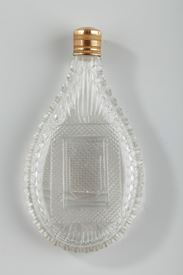 Perfume Flask in Cut Crystal with gold stopper.<br> Mid-19th Century.