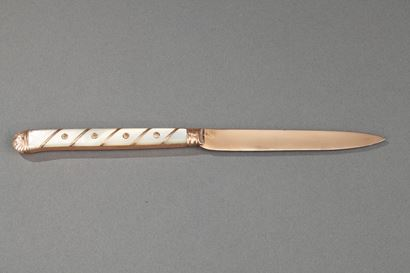 18th Century French gold and mother of pearl pen knife.